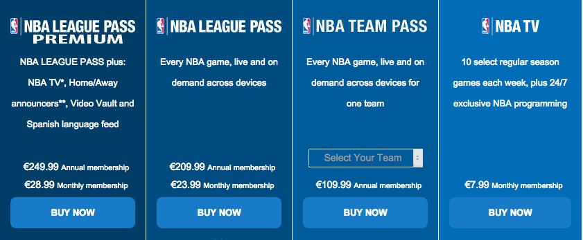 NBA league pass in belgië
