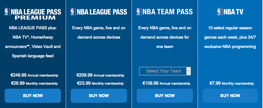 NBA league pass in belgië